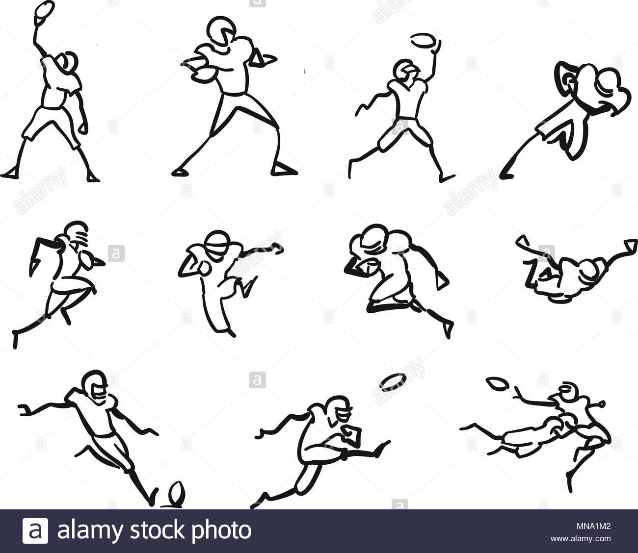 1300x1128 American Football Player Motion Sketch Studies, Hand Drawn Vector