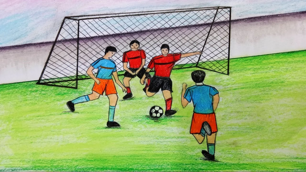 1280x720 How To Draw Scenery Of Playing Football.step By Step(Easy Draw