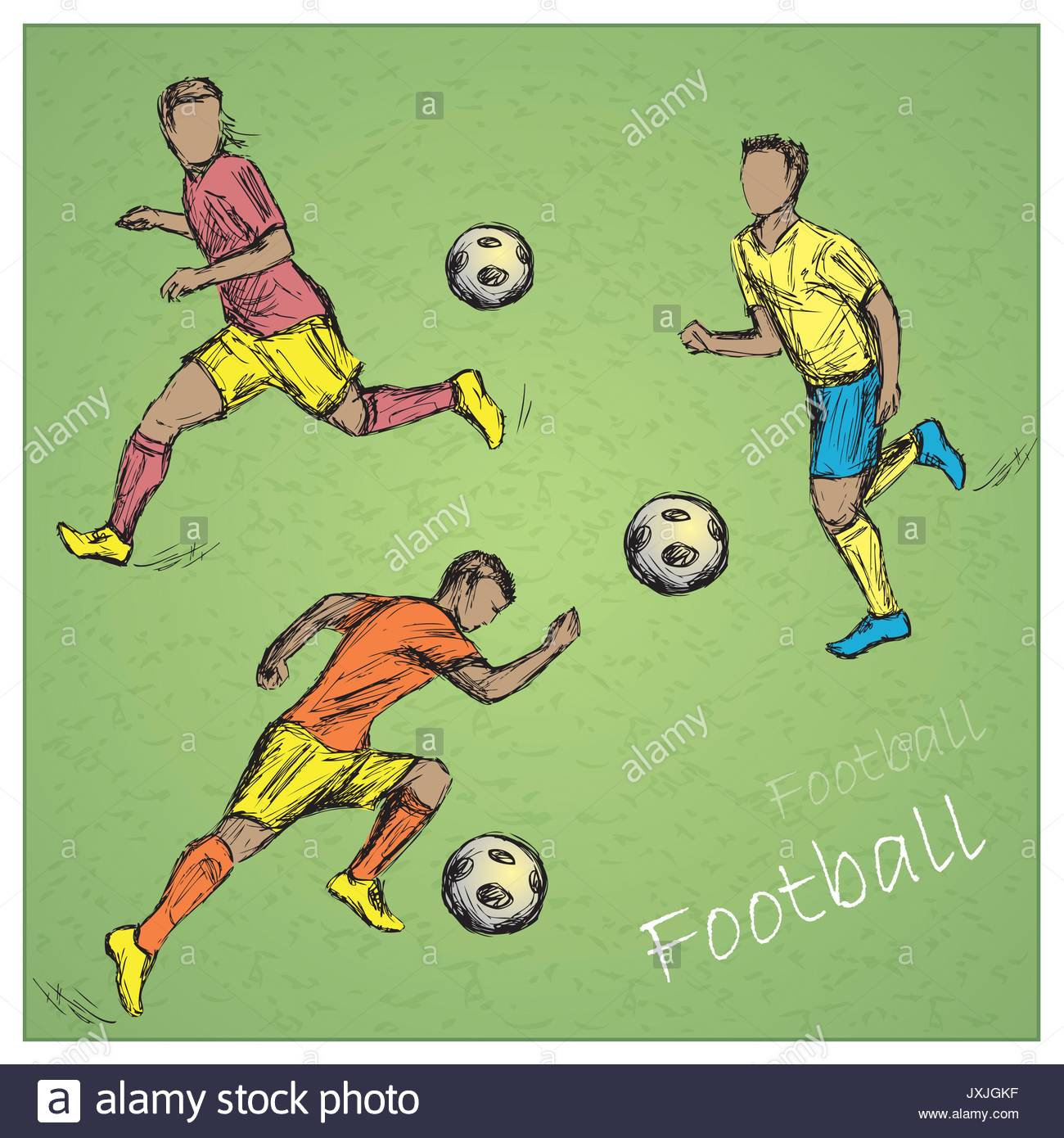 1300x1390 Set Football Players In Different Poses. Vector Hand Drawing Stock