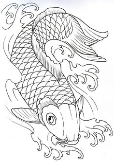 236x333 Koi Goldfish Black And White Drawing