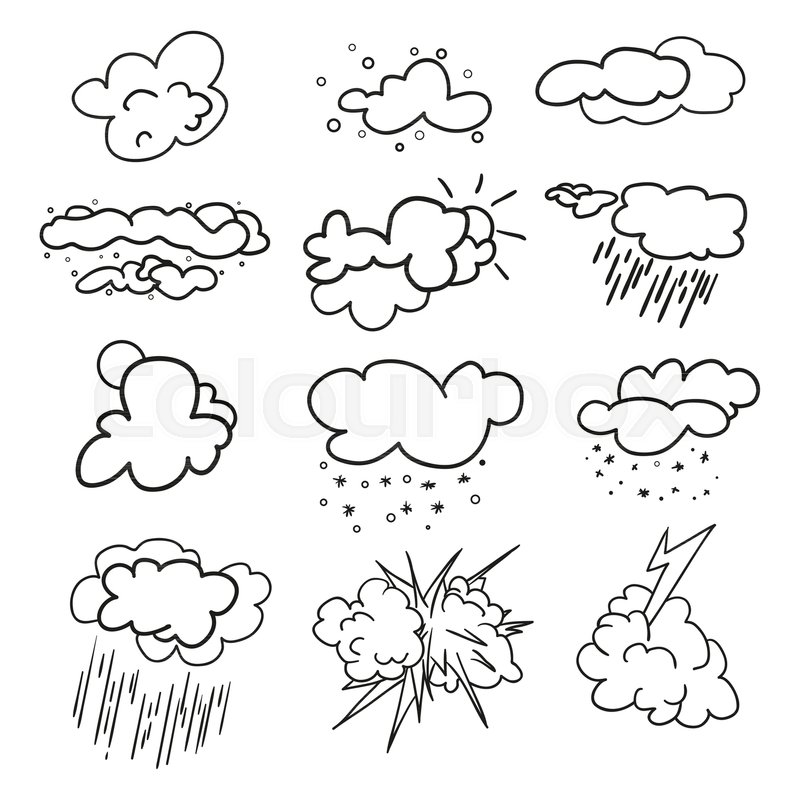 800x800 Weather Elements On Isolation Background. Collection. Doodles
