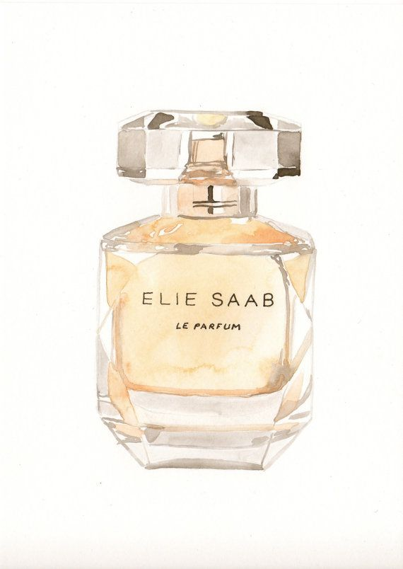 570x804 Elie Saab Fragrance Watercolor Perfume Bottle By Milkfoam On Etsy