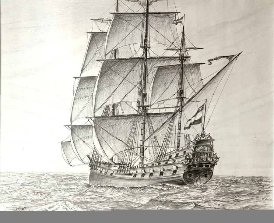 900x732 17th Century Dutch Frigate,pen By John Tansey