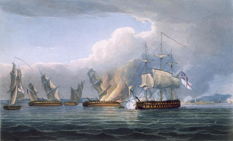 900x545 Destruction Of The French Frigates Drawing By Thomas Whitcombe