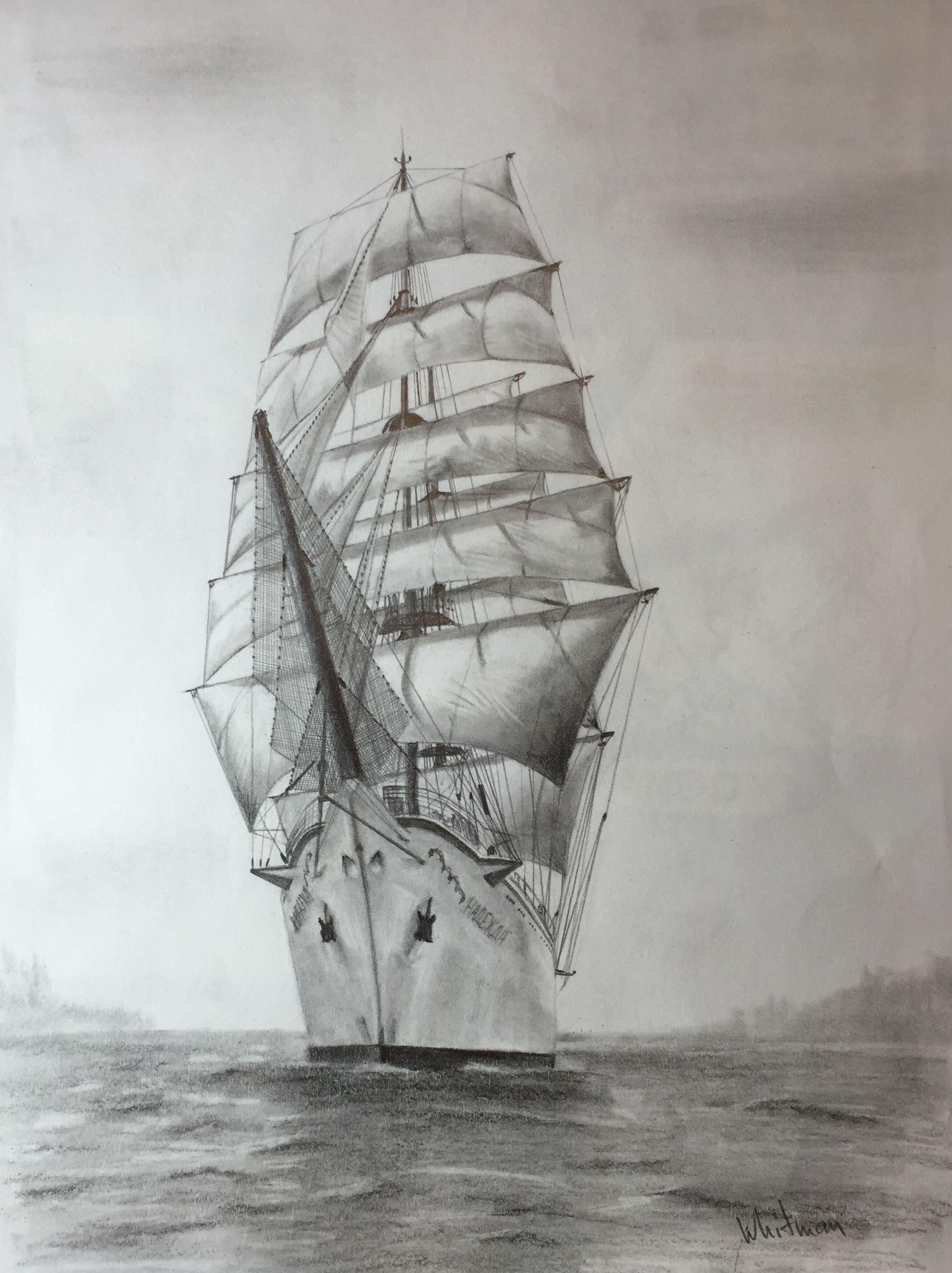 2153x2879 Nadezhda Tall Ship, Sail Ship. Beautiful Russian Frigate Sketch