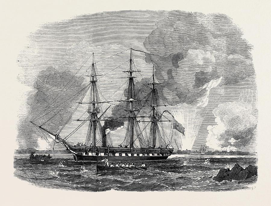 900x686 The Baltic Fleet The Amphion, 34 Gun Frigate Drawing By English School