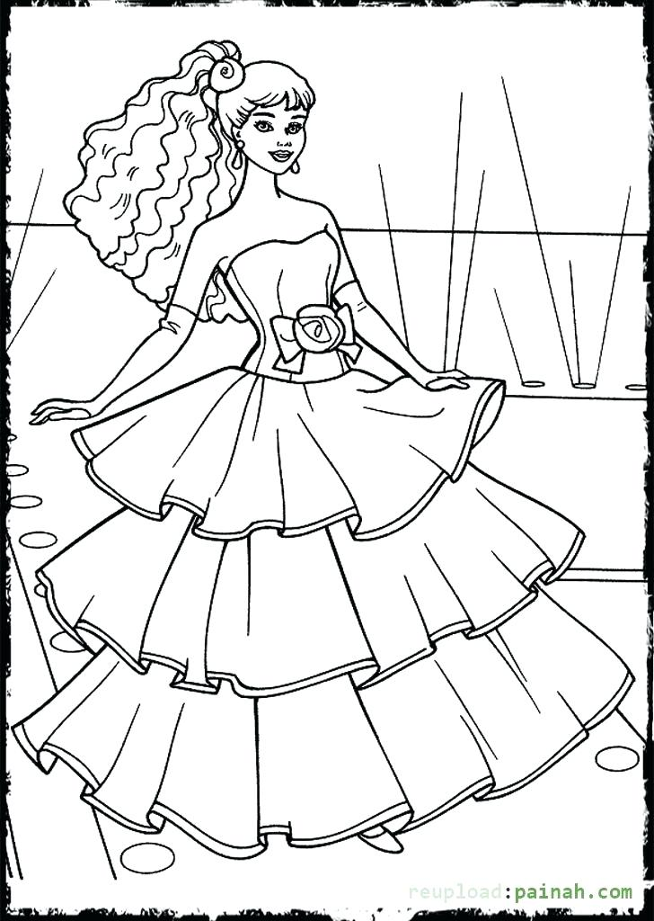 728x1024 Barbie Dress Up Coloring Pages Pin Drawn Barbie Frock Barbie
