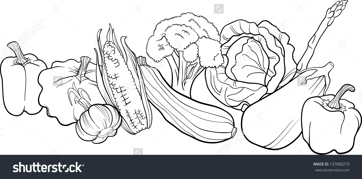 Fruits And Vegetables Drawing Black And White at GetDrawings