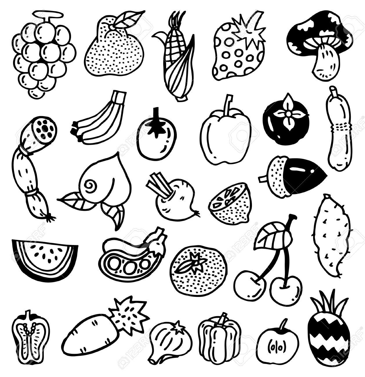 1259x1300 Cartoon Fruit Drawings Drawn Fruit Fruit Vegetable