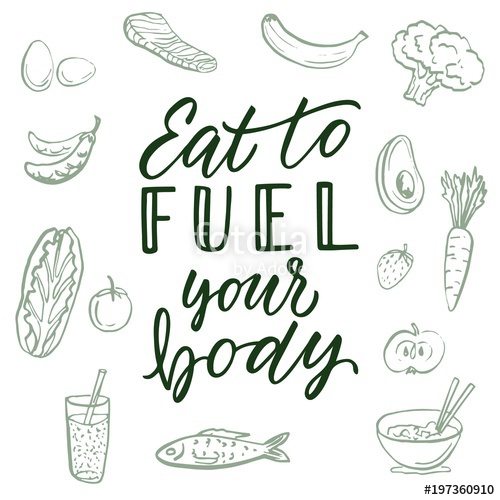500x500 Eat To Fuel Your Body! Calligraphic Quote And Food Drawings