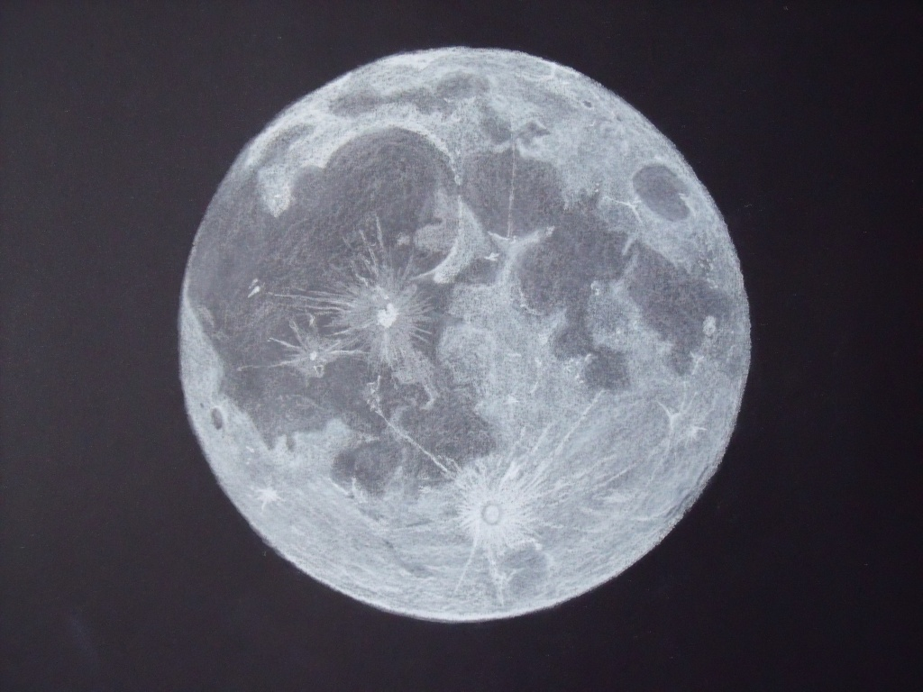 1024x768 Collection Of Easy Drawing Of A Full Moon High Quality, Free