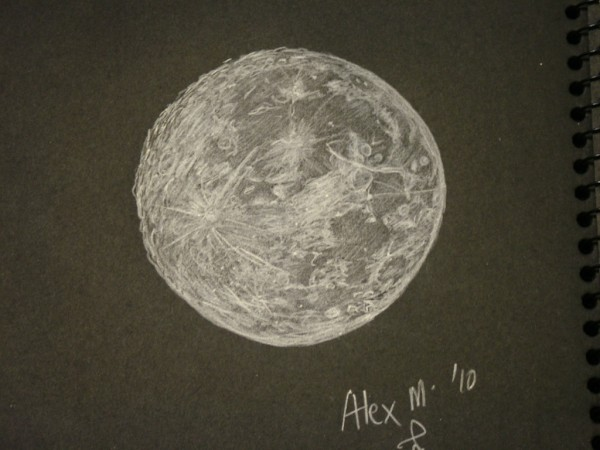 600x450 A Near Full Moon Study Astronomy Sketch Of The Day
