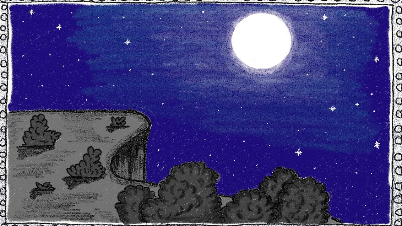 1280x720 Drawing A Simple Full Moon Night How To Draw A Full Moon Night