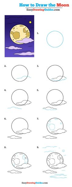 236x610 How To Draw A Simple Realistic Moon. Easy Free Step By Step