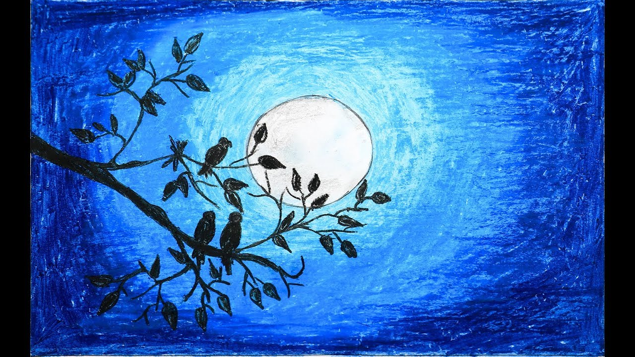 1280x720 How To Draw Scenery Of Moonlight With Oil Pastel Step By Step