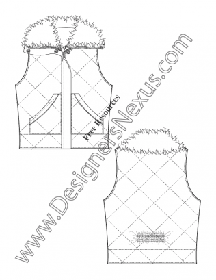 316x409 V35 Diamond Quilted Fur Collar Vest Flat Fashion Sketch Template