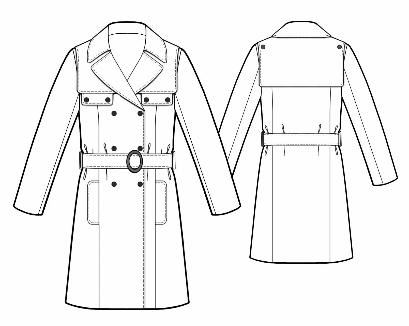 1609x1281 Collection Of Trench Coat Technical Drawing High Quality