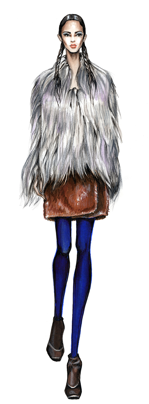 600x1624 Collection Of Fur Coat Technical Drawing High Quality, Free