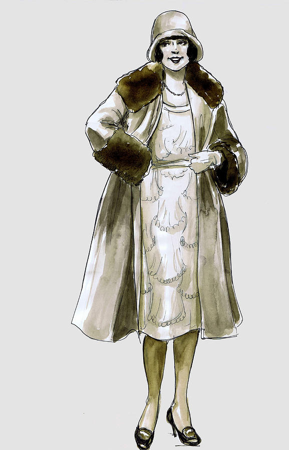577x900 Flapper Fur Coat Drawing By Mel Thompson