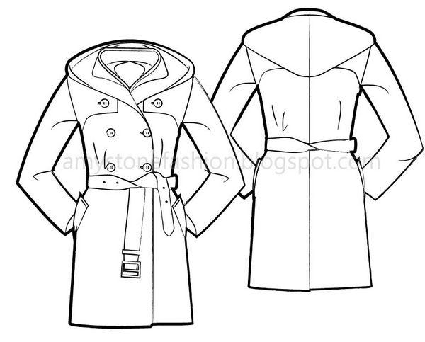 600x483 Amy Stone Fashion Flat Sketches Ufeffdouble Layer Hooded Coat Fashion