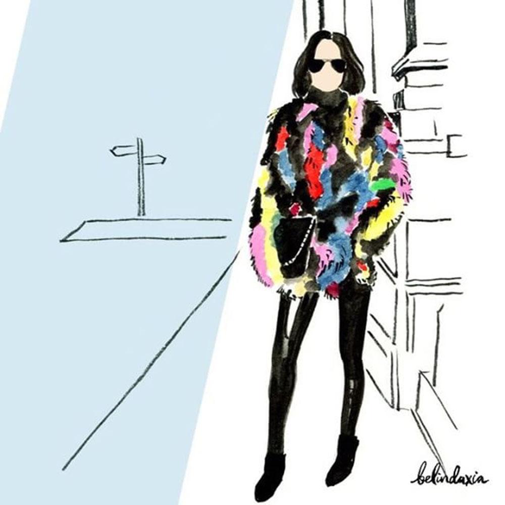 1000x1000 Rainbow Jocelyn Patchwork Fur Coat With Leather Leggings