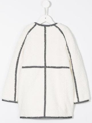 322x430 Kids Contrast Piping Faux Fur Coat