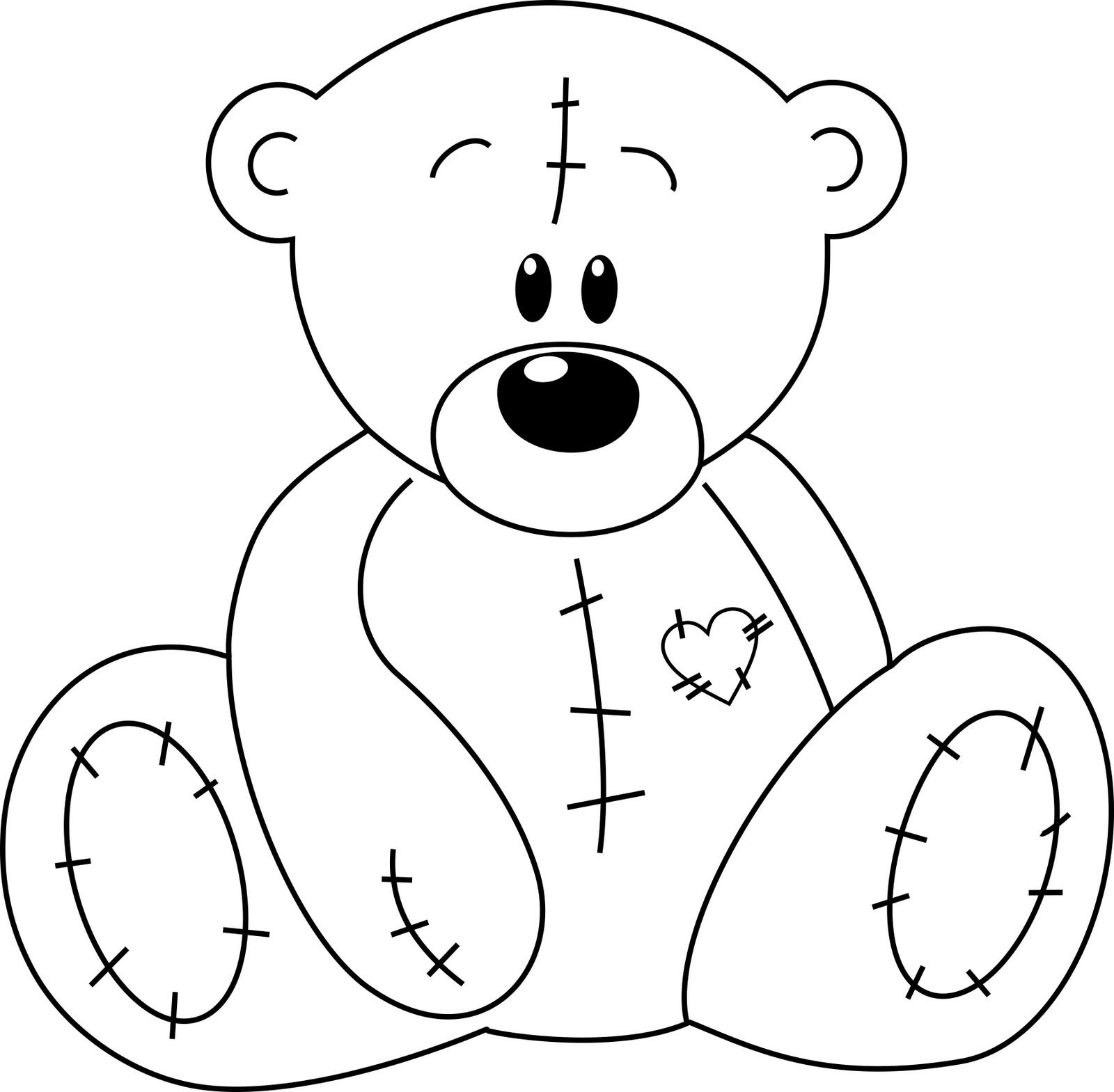 1600x1569 Drawn Teddy Bear Stitched Up