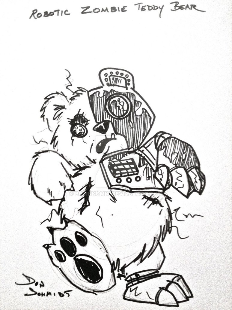 774x1032 Collection Of Zombie Teddy Bear Drawing High Quality, Free