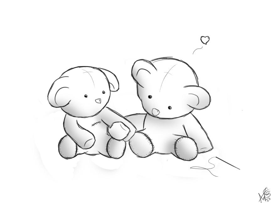 864x648 Photos Cute Teddy Bear Sketch Drawing With Heart,