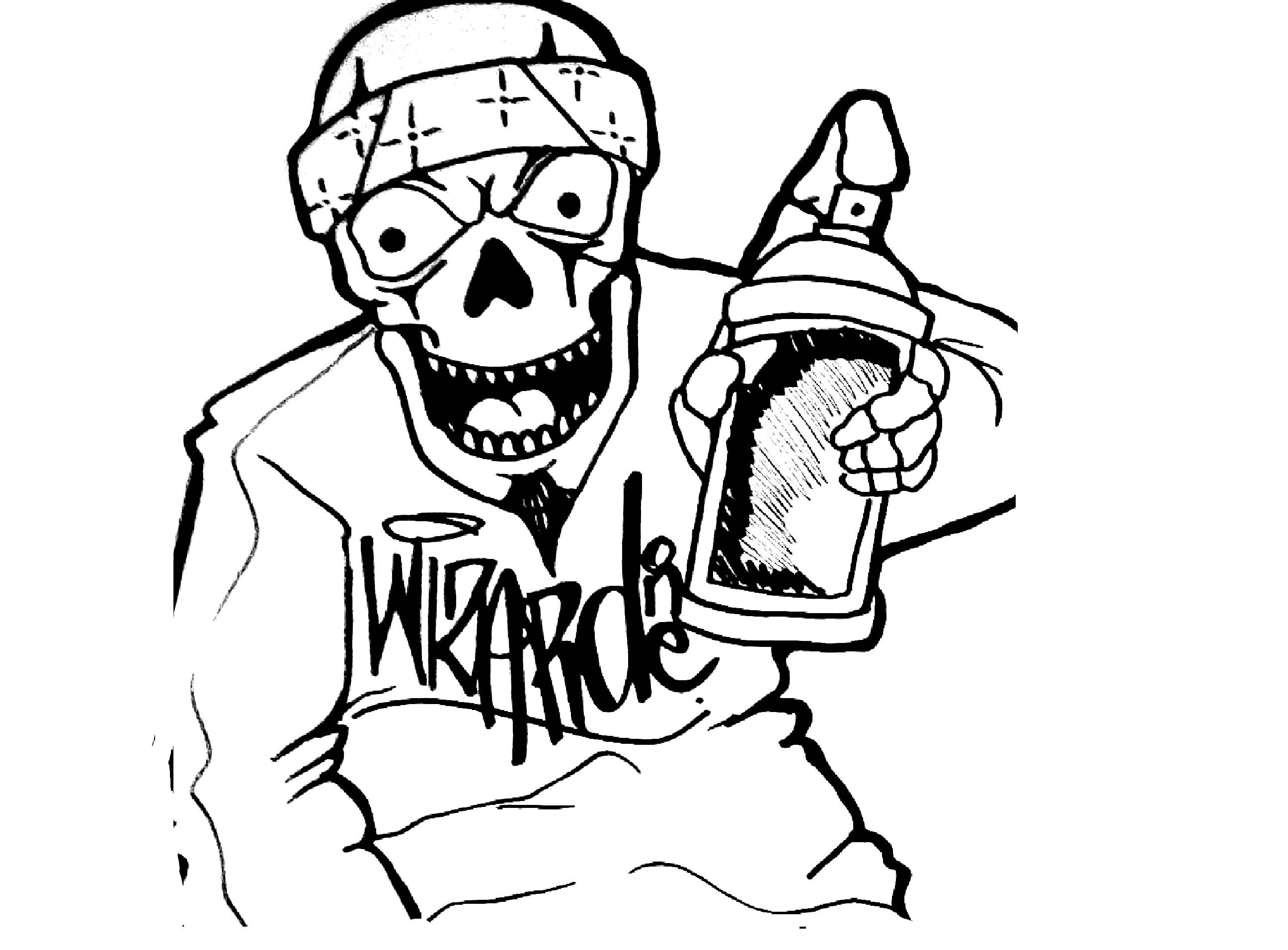 2592x1912 Graffiti Clowns Drawings And Sketches Drawing A Skull Clown (Speed