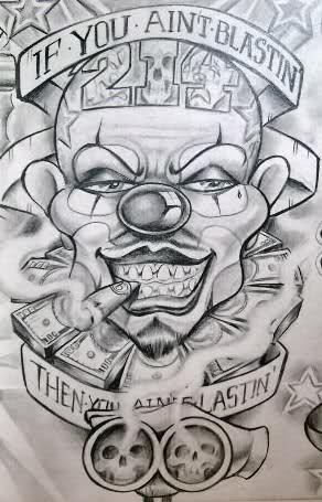 292x455 34 Best Gangster Clown Tattoo Designs Images On Clown