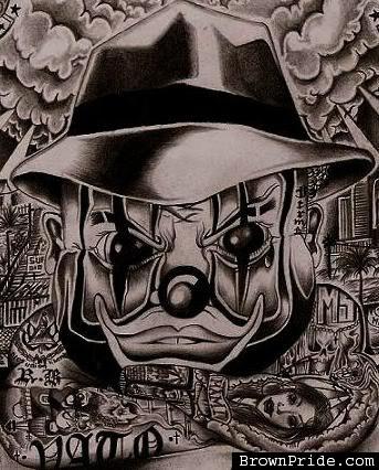 343x426 Amazing Grey Ink Clown Head Gangster Tattoo Design