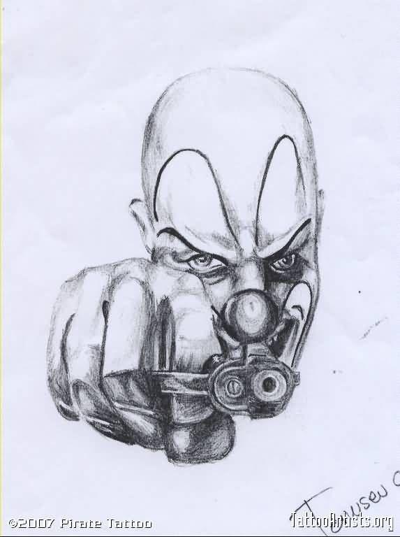 573x768 Gangster Tattoo Fantastic Clown Tattoo Drawing Tattoos