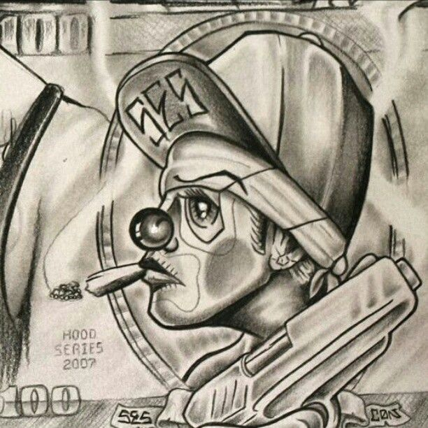 612x612 Images Gt Evil Gangster Clown Drawings Lowrider Art