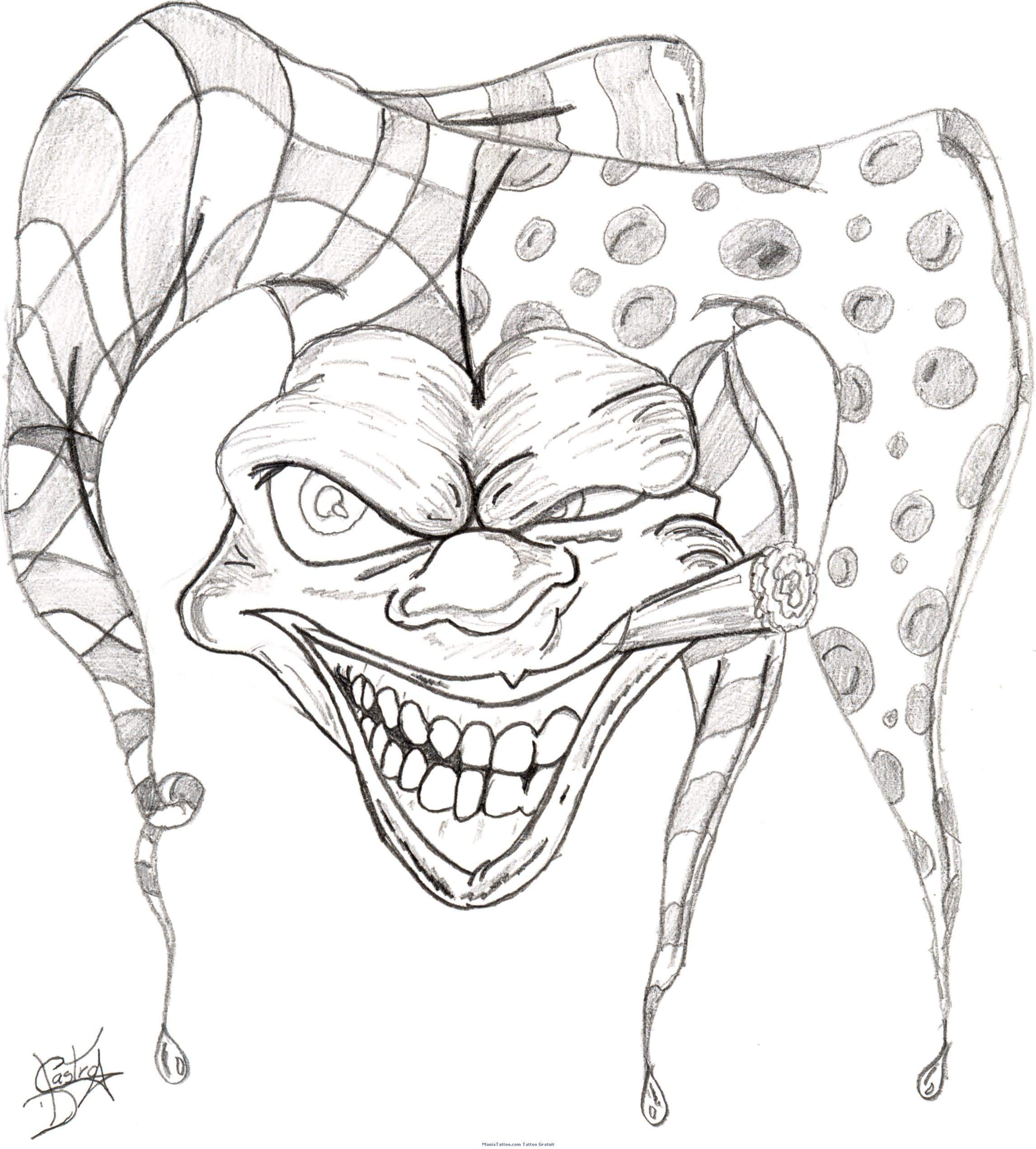 2292x2540 Drawing Gangsta Designs Clown Tattoo Drawing Designs Pictures