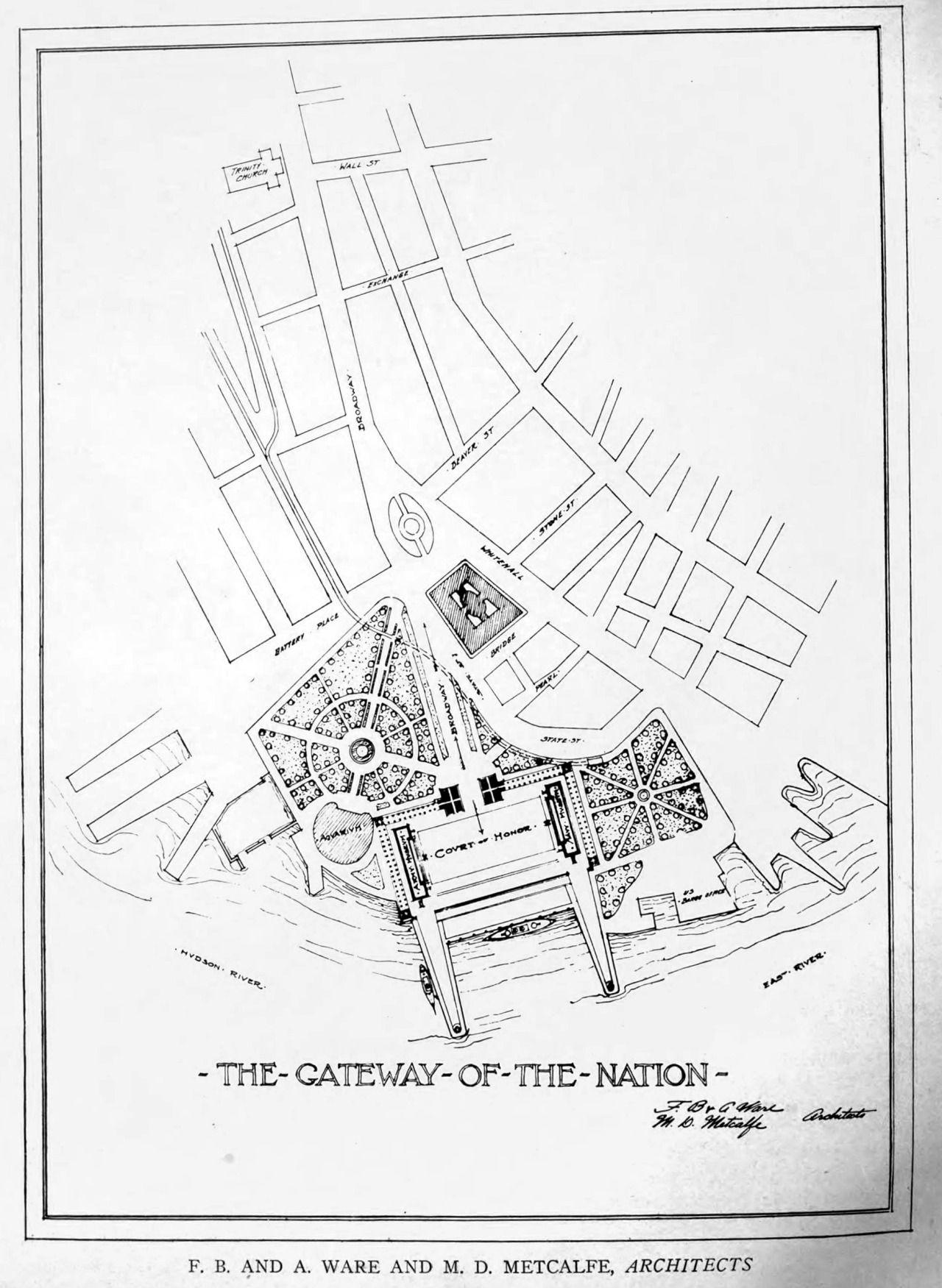 1280x1751 National Gateway Design For New York City. Unbuilt Classical