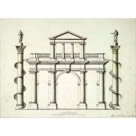 434x434 Elevation Of A Garden Gateway Featuring A Belvedere And Two Large