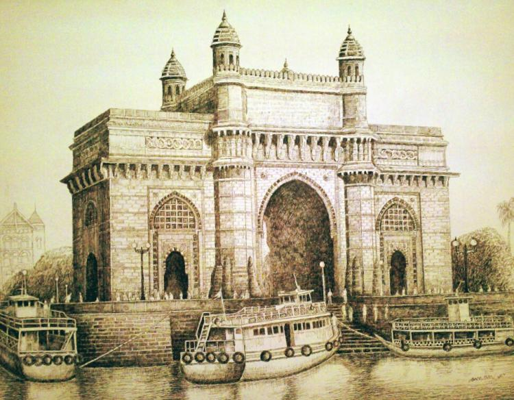 750x584 Gateway Of India By Artist Aman A Ink Drawings On Canvas