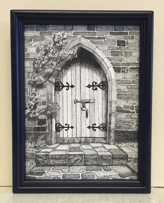570x707 Pen And Ink Drawing Art Nostalgic Art Secret Garden Gateway