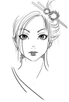 Geisha Face Drawing