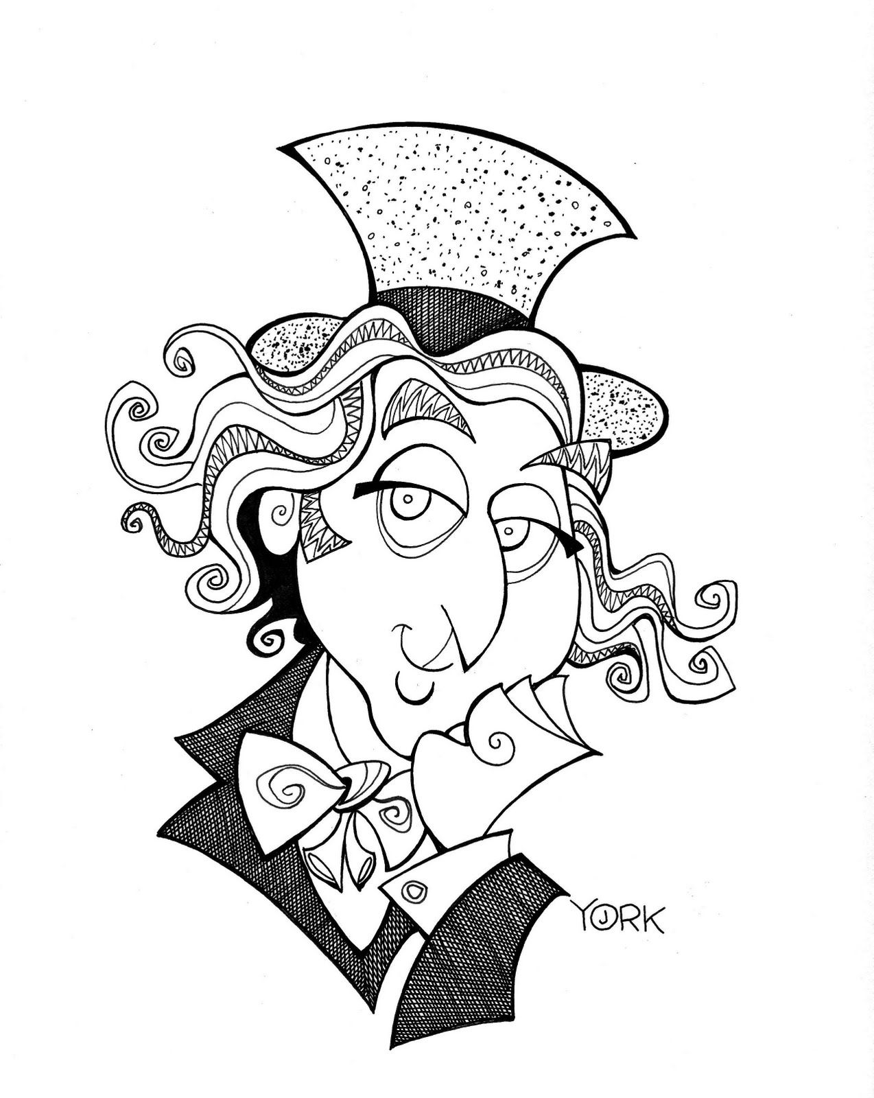 1274x1600 Star Trek Caricature Original Caricature Of Gene Wilder As Willy