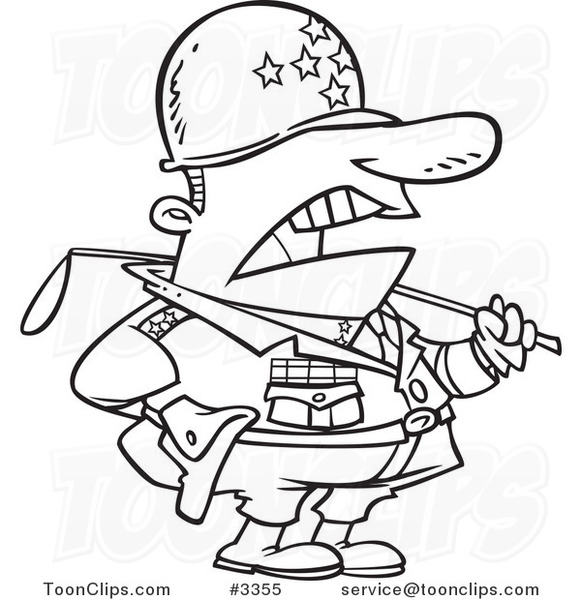 581x600 Cartoon Black And White Line Drawing Of A Tough Military General