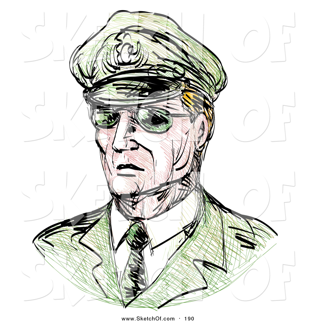1024x1044 Drawing Of A Sketched Military General In Shades By Patrimonio