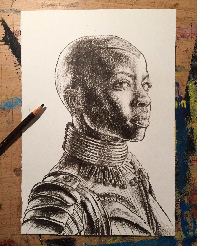 2448x3060 Pencil Crayon Drawing Of General Okoye Drawn By Simon Raskina
