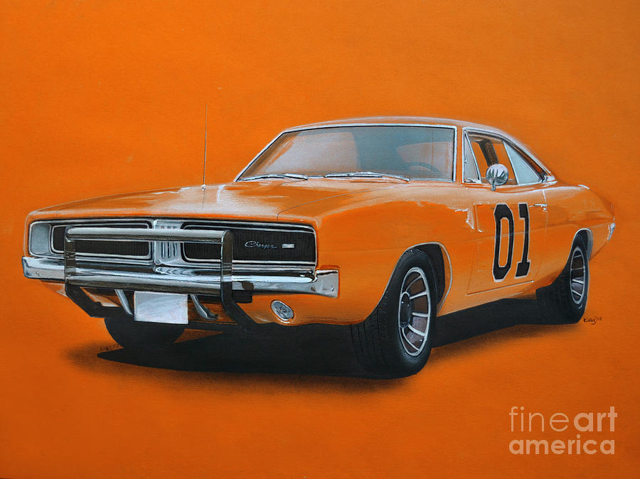 900x674 General Lee Dodge Charger Drawing By Paul Kuras