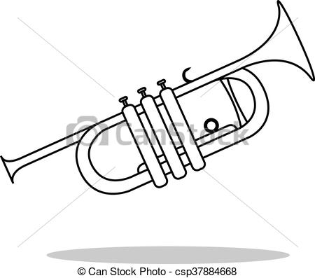 450x397 Collection Of Trumpet Instrument Drawing High Quality, Free