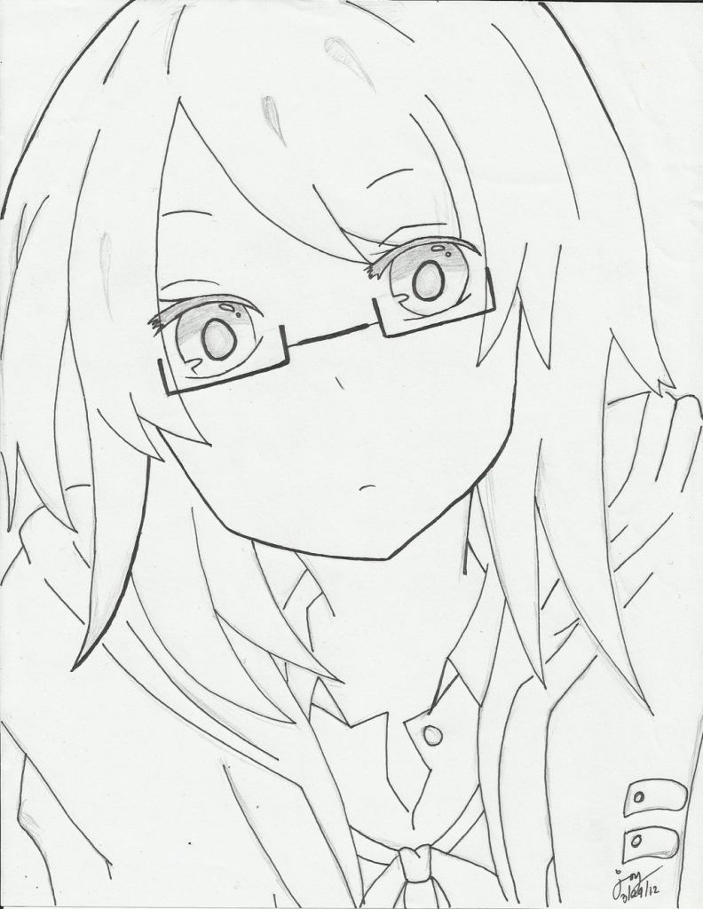 792x1024 Anime Sketch Glasses Girl With Glasses Cjoyzv