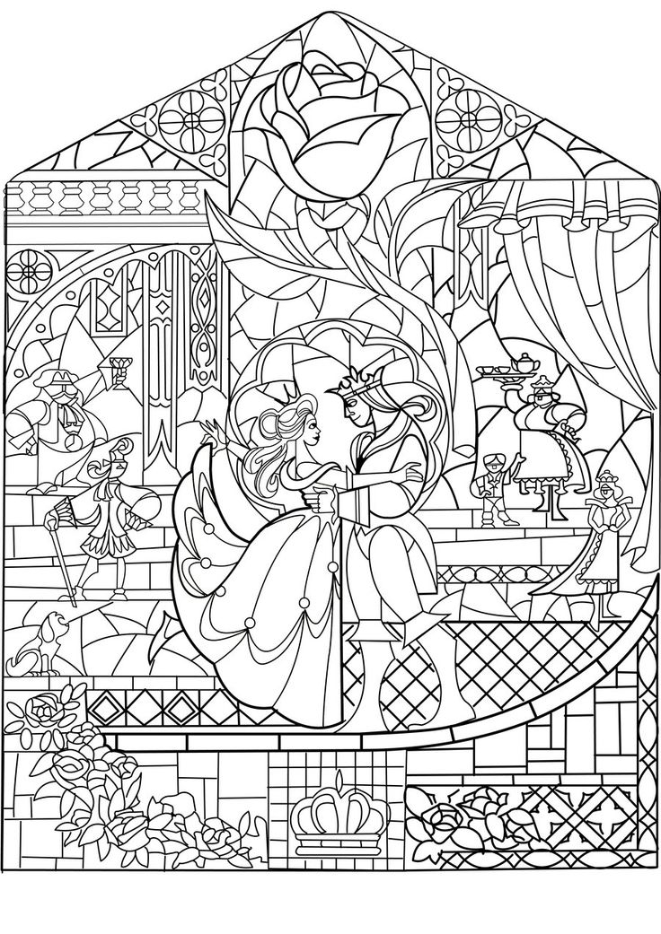 736x1041 Beauty And The Beast Stained Glass Window Coloring Page Free