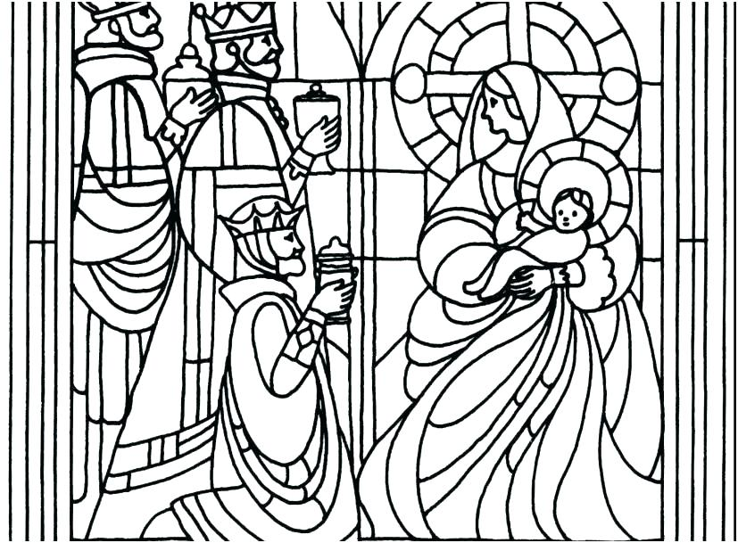 827x609 Christmas Stained Glass Window Colouring Pages