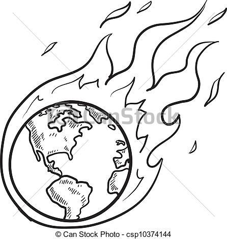 446x470 Global Crisis Sketch. Doodle Style Flaming Globe Illustration